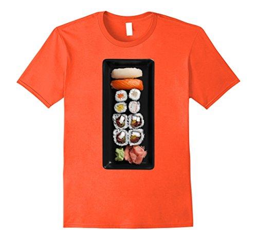 Nigiri Sushi Costume (Mens Sushi Platter Nigiri Raw Fish Wasabi Ginger Halloween Shirt XL Orange)