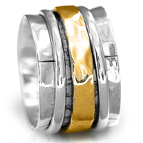 Boho-Magic Sterling Silver Spinner Ring | Brass and Silver Spinning Ring | Wide Band Meditation (9)