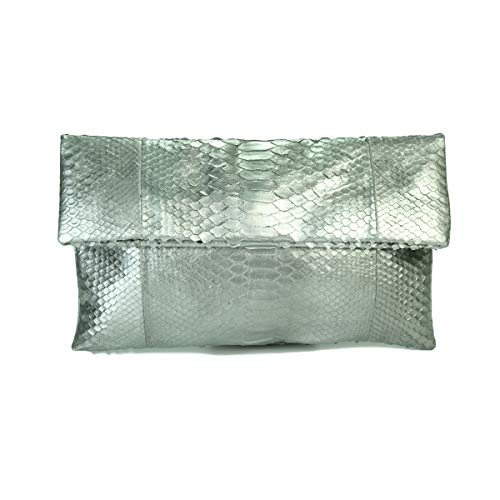 Genuine Solid Silver Python Leather Classic Foldover Clutch Bag