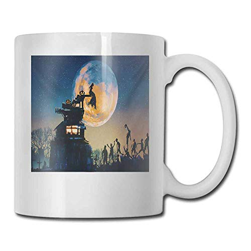 Porcelain Mugs for Coffee Fantasy World Dead Queen in Castle Zombies in Cemetery Love Affair Bridal Halloween Theme Milk 11 oz Blue -