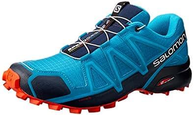 Salomon Speedcross 4 - Men's Men's Trail Running Shoes, Fjord Blue/Navy Blazer/Cherry Tomato, 9 US