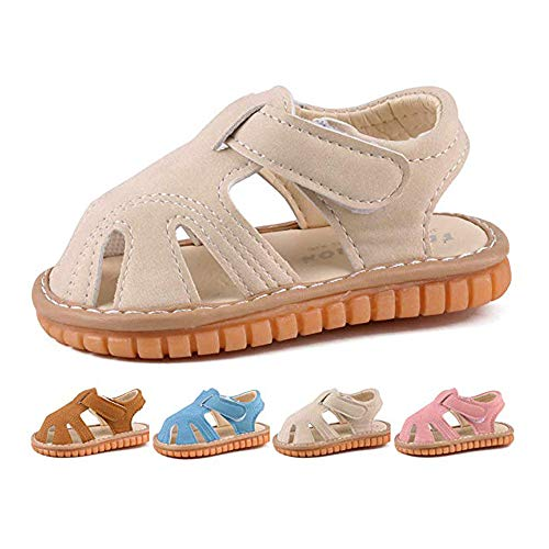 - Baby Boy Girl Summer Infant Squeaky Sandals Premium Rubber Sole Closed-Toe Non-Slip Shoes Toddler First Walkers Beige