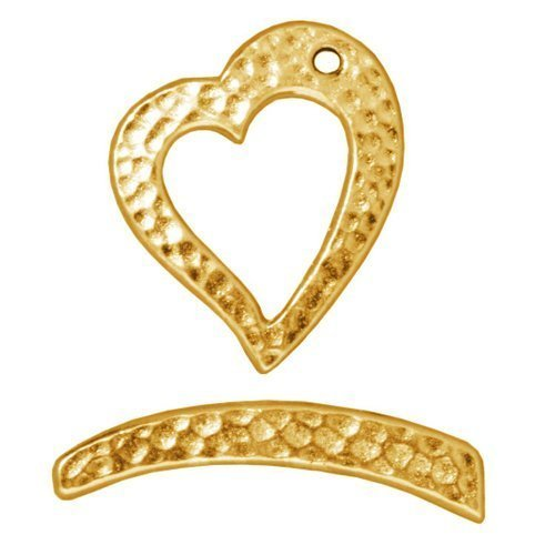 TierraCast Toggle Hammered Heart, 21mm, Bright 22K Gold Plated Pewter, 2-Set/Pack ()