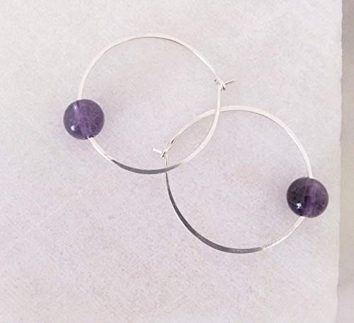 - Sterling Silver or 14k Goldfilled Purple Amethyst Stone Wire Hoop Earring. Valentines Mothers Day Birthday Bridesmaid 25th Anniversary Christmas Gift Her