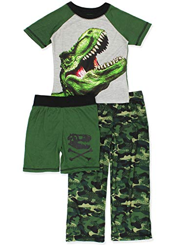 Komar Kids Dinosaur Boy's 3 Piece Top Shorts Pants Pajamas Set (Small (6-7), Green/Black) ()