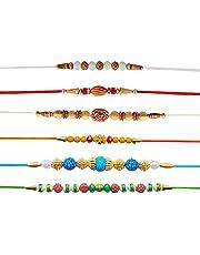 Hathkaam Rakhi voor broer Set van 6 Rakhee Armband voor Bhai Bhaiya Stijlvolle Armband Happy Raksha Bandhan Designer Multicolor Rakhi Love van Sister Handgemaakt door Vrouwen Artisans Premium Kwaliteit