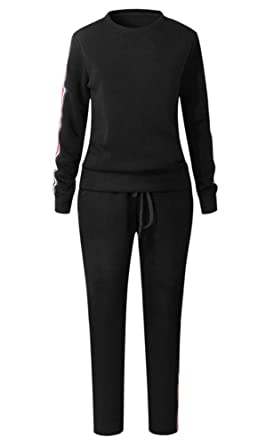 ecf772876de0 Womens Plain Loungewear Set Two Piece Joggers Tracksuit: Amazon.co.uk:  Clothing
