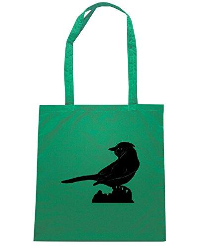 T-Shirtshock - Bolsa para la compra FUN0823 blue jay birds animal animals vinyl decal sticker 98669 Verde