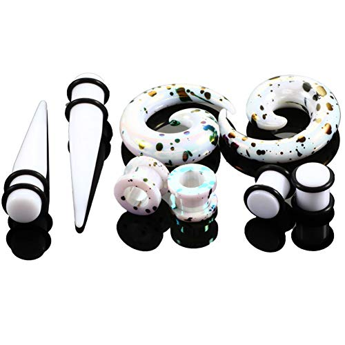 HQLA 4 Pairs A Set White Acrylic Swirl Taper Ear Taper Expander Tunnels Plugs with O-Rings Gauges Stretcher Expander (4G (5mm))