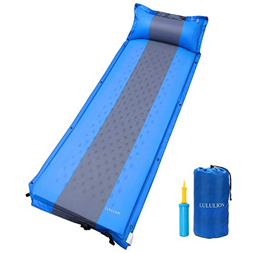 iBaseToy Self-Inflating Sleeping Pad(75.6×23.6×1.2 inch), Camping Foam Mat with Pillow Light Weight Folding Air Mattress for Hiking Backpacking Indoor Party, Tent, Sleeping Bag- Air Pump Included