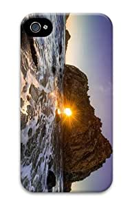 case awesome cover coast sunset rock hole PC Case for iphone 4/4S