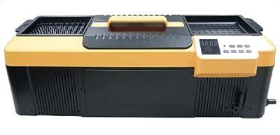 """iSonic P4890(II) Commercial Ultrasonic Cleaner, Plastic Basket, Heater, Drain, 110V, 2.3Gallons / 9 Litre, 25.5"""" Long Tank, Orange/ Black"""