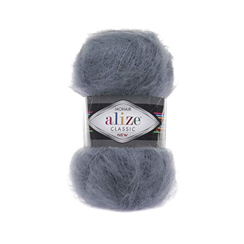 Wool Mohair Yarn Alize Mohair Classic New Thread Crochet Hand Knitting Turkish Yarn Art Lot of 4 skeins 400 gr 875 yds Color 87 Coal Grey ()