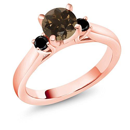 (Gem Stone King 1.00Ct Brown Smoky Quartz Black Diamond 18K Rose Gold Plated Silver 3-Stone Ring (Size 9))