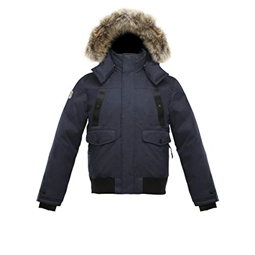 Triple F.A.T. Goose SAGA Collection | Norden Mens Hooded Goose Down Jacket Parka with Real Coyote Fur (X-Large, Navy)