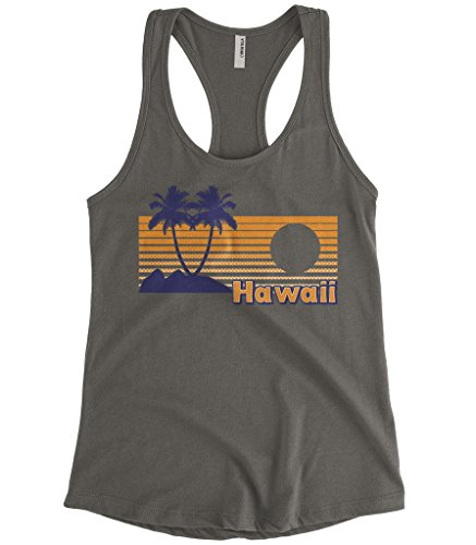 Cybertela Women's Hawaii Hawaiian Hi Sunset Beach Palm Tree Racerback Tank Top (Charcoal, X-Large)