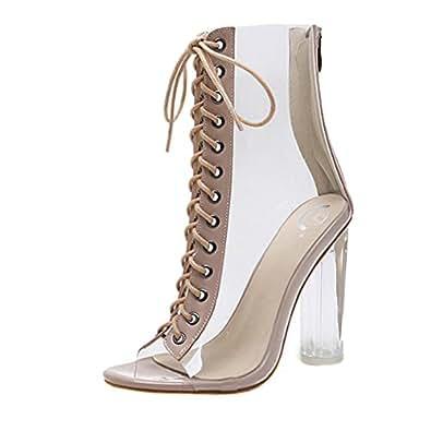 Zapatos de tacón Altas Ancho Clásicos para Mujer Verano 2018 PAOLIAN Casual Transparente Zapatos de Boca de Pescado Cruz de Cordones Fiesta Romano Sandalias de Vestir Moda Zapatos (36, Beige)