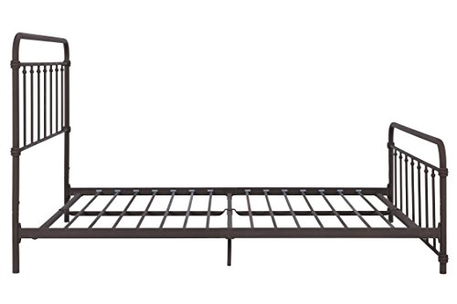 Wallace Metal Bed Frame in Dark Bronze with Vintage Headboard and Footboard, No Box Spring Required, Sturdy Metal Frame with Slats, Weight Limit 450lbs, Full Size