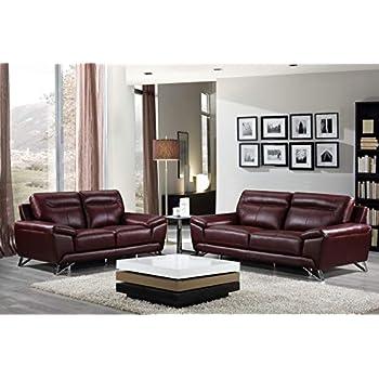 Amazon.com: Cortesi Home Phoenix Genuine Leather Sofa Collection ...