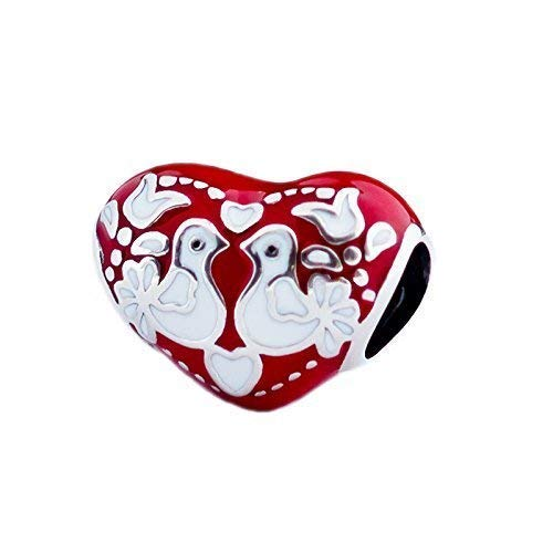 Folk Art Inspired Lovebirds on Fire - Red & White Enamel Heart Sterling Silver Charm Bead S925, Love Heart Enamel charm, Folk Art inspired pendant, Folklore Jewelry, fits Pandora (Pandora Charm Lovebird)