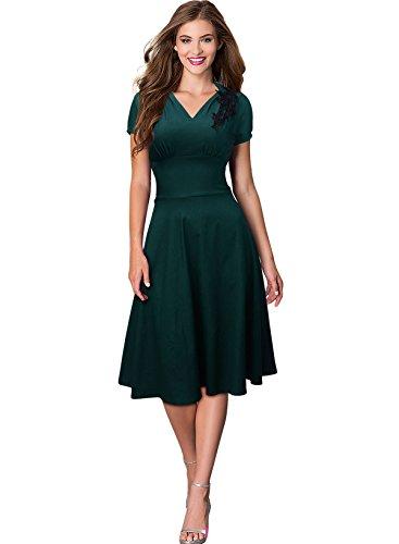 LOBTY Damen A Linie Kleider Plissee Dress 50er Jahre VintageKleid ...