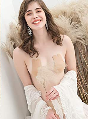 AlrSoar Women Lift Nipplecovers Adhesive Strapless Backless Silicone Bra (The Latest Model of 2019) Beige