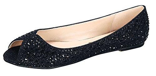 Baba-29 Women's Peep Open-Toe Rhinestone Crystal Embellished Ballet Flat Shoe Black 6.5