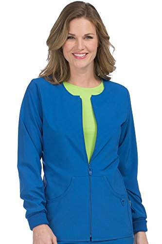 - Med Couture Stretch Zip Front Warm Up Scrub Jacket Women, Royal, 3X-Large