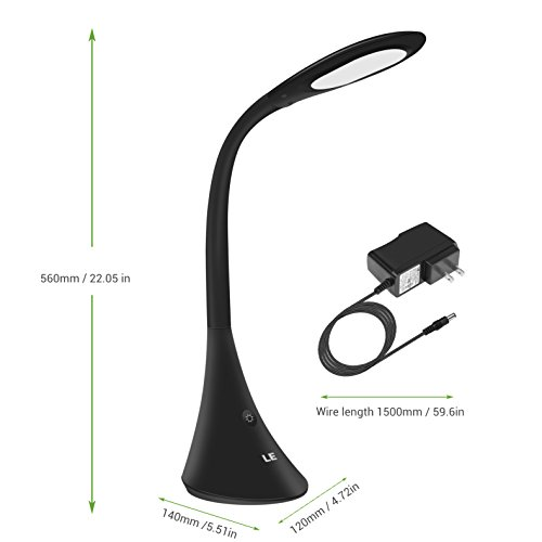 LE 9W LED Desk Lamp, Eye-caring Touch Control Dimmable Reading Study Lamp, 3 Adjustable Brightness Levels Table Lamp for Bedroom Office Dormitory, USB Output Function, Black by Lighting EVER (Image #6)