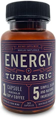 Marjay Naturals Energy Pills – Caffeine Pills with Organic Caffeine, Natural l-Theanine, Organic Turmeric Extract, and Organic Black Pepper No Preservatives, Fillers, or Binders Non-GMO