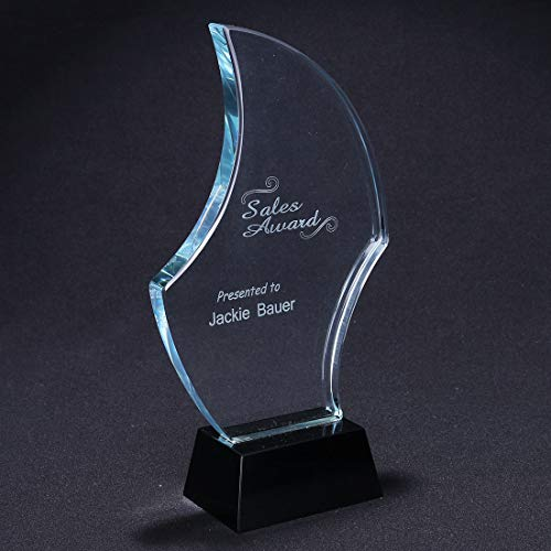 H&D Crystal Sail Award Black Base, Crystal Trophy with Customization ()
