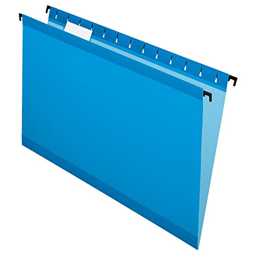 Pendaflex SureHook Reinforced Hanging Folders, Legal Size, Blue, 1/5 Cut, 20/BX (6153 1/5 BLU)