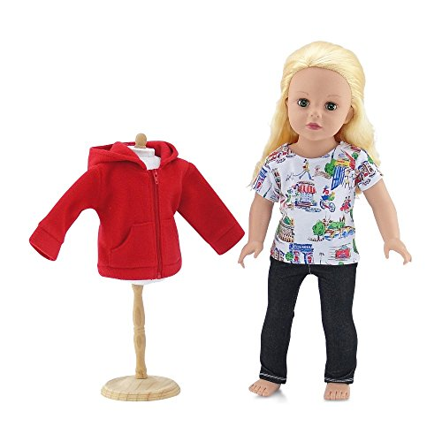 18 Inch Doll Clothes | Hooded Fleece Jacket Coat Value Outfit with Pockets, Includes Black Stretch Skinny Jeans and Short Sleeved Paris Graphic T-Shirt | Fits American Girl 18