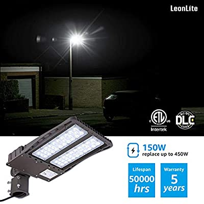 Ultra Bright LED Parking Lot Light with Photocell, 150W (450W Equiv.) Lighting Fixture, Dusk-to-Dawn, DLC & ETL listed, for Docks, Driveways, Backyards, 5-YEAR WARRANTY