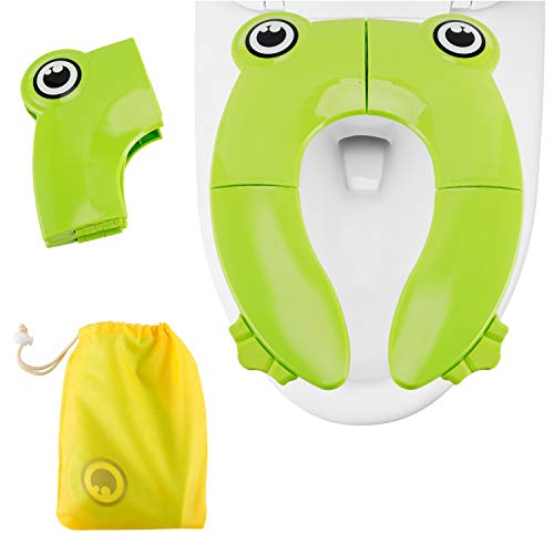 Travel Portable Folding Potty Training Toilet Seat Cover, Minkle Non Slip Silicone Pads with Carry Bag for Babies, Toddlers and Kids - Green ()