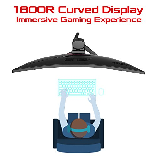 ASUS ROG STRIX Curved XG32VQ, 32 Inch (31.5 Inch) WQHD (2560 x 1440), VA, Up to 144 Hz, 125% sRGB, DP, HDMI, FreeSync, AuraSync