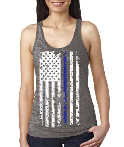 Women's Thin Blue Line American Flag Burnout Racerback Tank Top (Charcoal, X-Large)