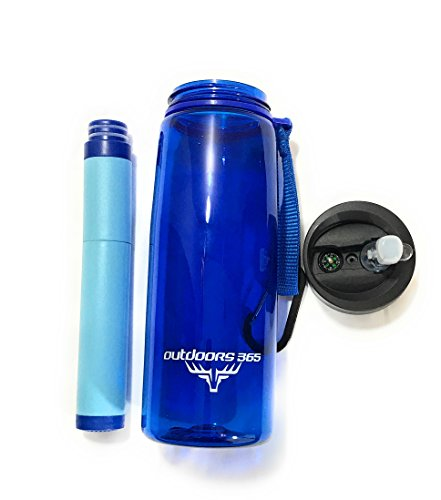 Outdoors365 Travel Water Filter Bottle & Built In Compass | Portable 2 Stage Drinking Water Purification System | Removes 99.99% Of Harmful Bacteria | Leakproof Reusable Survival Straw Tumbler (Blue)