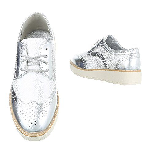 Design Planos Mujer Zapatos Ital 62016 Silber Cordones con dwSSq