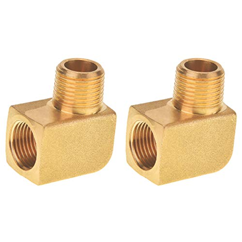 SUNGATOR Brass Pipe Fitting, 90 Degree Barstock Street Elbow, 3/8