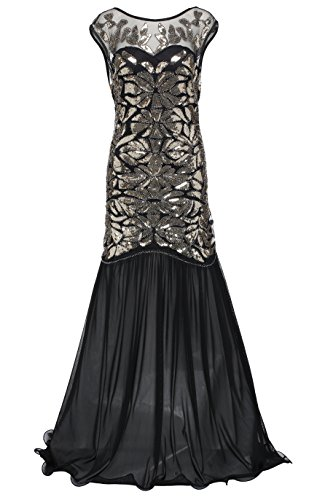 [BABEYOND Women's 1920s Long Dresses Beaded Sequin Maxi Evening Prom Dress] (Roaring 20s Costumes)
