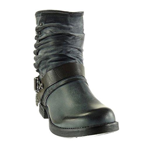 Angkorly - damen Schuhe Stiefeletten - Biker - Reitstiefel - Kavalier - vintage-stil - Geflochten - String Tanga - Nieten - besetzt Blockabsatz 2.5 CM Grau