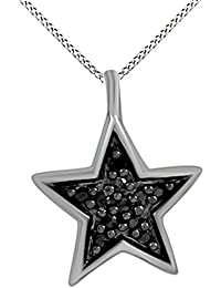 Black Natural Diamond Accent 14K Gold Over Sterling Silver Star Pendant