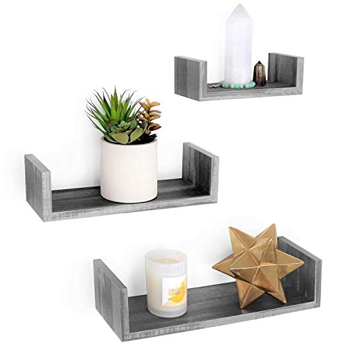 Under.Stated U Shaped Floating Wall Shelves - Rustic MDF with PVC Wall Mounted Display Rack | Multi-Purpose Hanging Shelves Set of 3 (Rustic Grey)