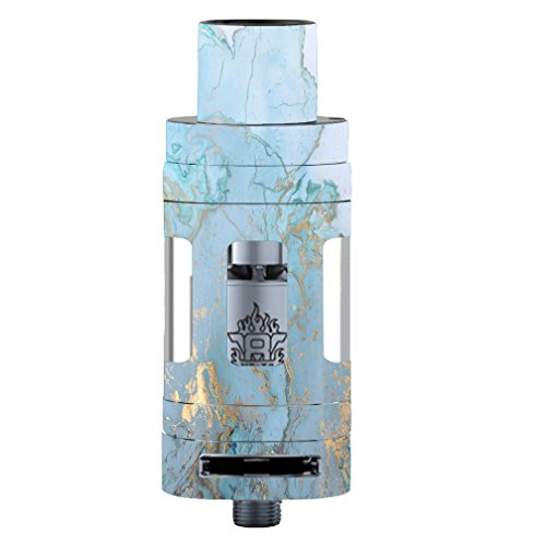 Skin Decal Vinyl Wrap for Smok TFV8 Tank Vape Mod Skins Stickers Cover/Teal Blue Gold White Marble Granite