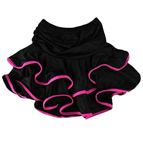 [Kangkang@ Children Dance Costumes Practise Milk Silk Skirts Double Skirt Latin Dance Dress Uniforms of the Girls Eye-Catching Girls Latin Dance Skirt Soft Practice Dress Asian] (Chacha Dance Costume)