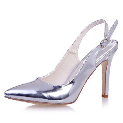 Leather YC Toe Night Heels Wedding Close Tau L Wedding Party 0608 amp; Women'S 24 Silver Night High n8wppYdqf