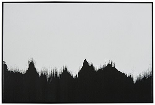 Abstract Black and White Print of Tree Line in Black Frame, 38'' x 26'' by Rivet
