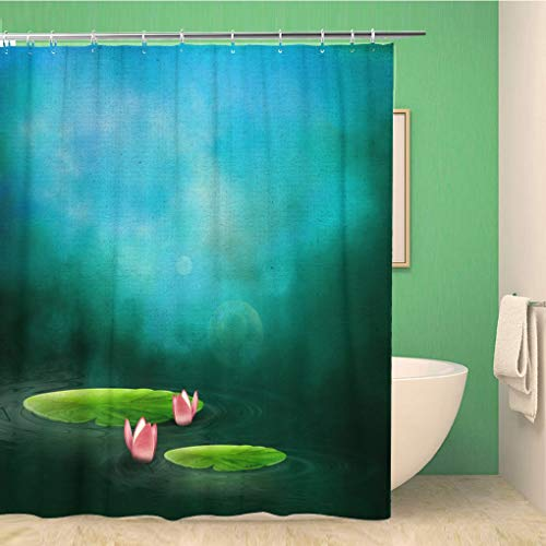 Awowee Bathroom Shower Curtain Lotus Lake The Water Lilies Pond Lily Reflection Swamp 66x72 inches Waterproof Bath Curtain Set with Hooks