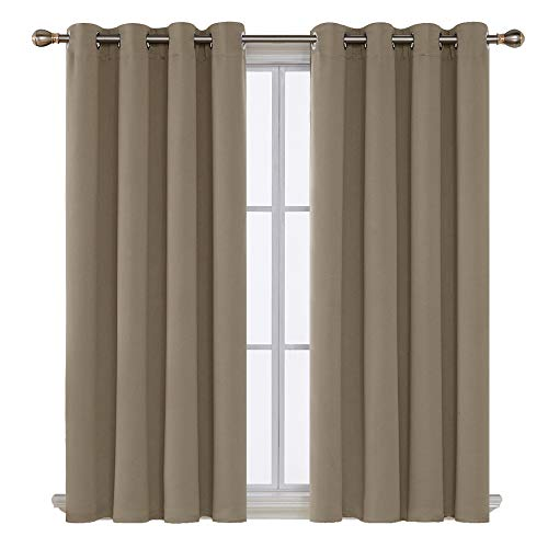 Blackout Curtains Grommet Top Room Darkening Thermal Insulated Curtain Panels for Bedroom 52x63 Inch Khaki 2 Panels
